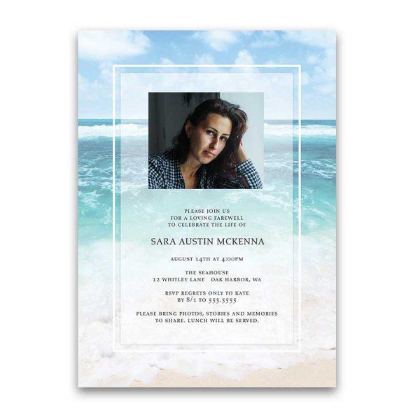 Celebration of Life Invitation Template Ocean Beach Theme