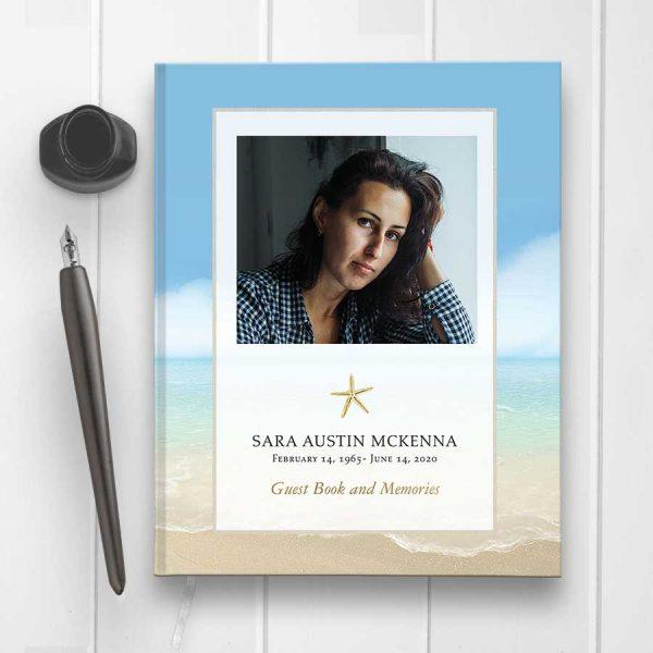 Custom Memorial Guest Book Hard Bound Ocean Beach