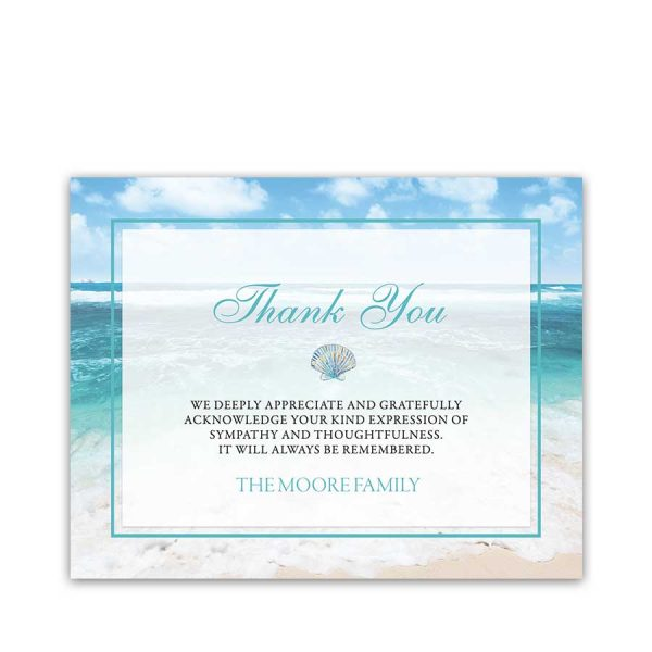 Thank You Card Template Memorial Service Beach