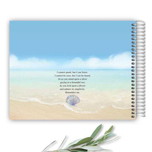 Memorial Guest Book Ocean Beach Theme Spiral Bound