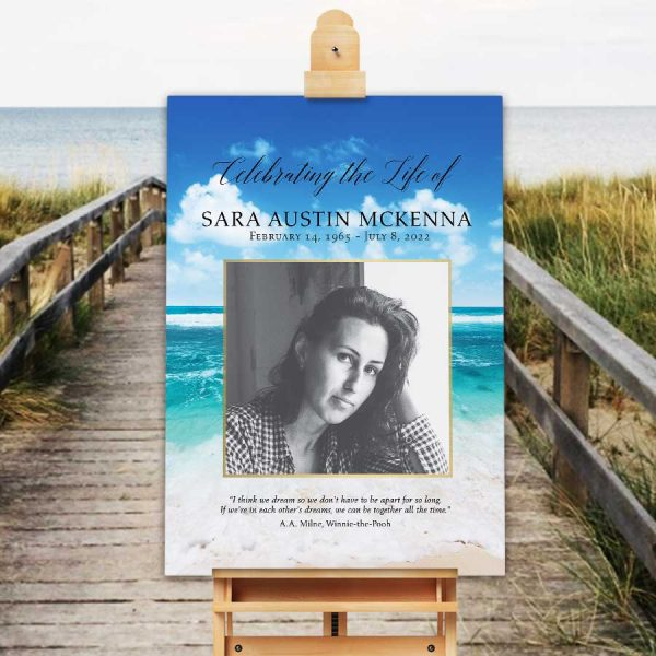 Beach Funeral Welcome Sign with Photo Celebration of Life