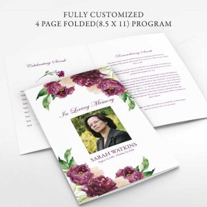 Funeral Brochure Template Customized Folded Floral Design