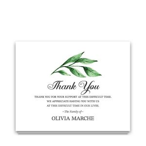 Customized Funeral Thank You Cards Watercolor Greenery