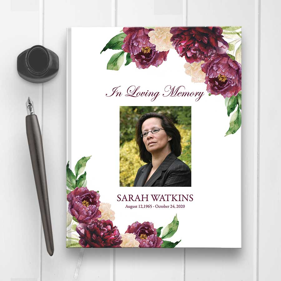 Funeral Guest Sign In Book Purple Florals Custom Photo