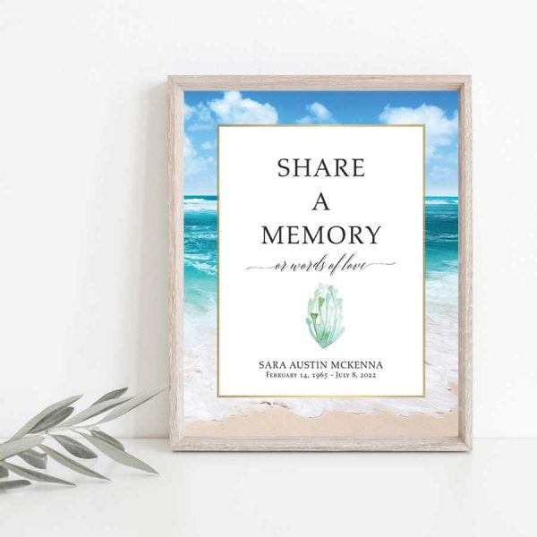 Funeral Memory Sign Digital Printable Beach Ocean Theme 8 x 10