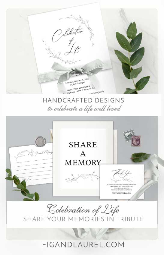 Funeral Celebration of Life Invitations Hand Sketched Floral