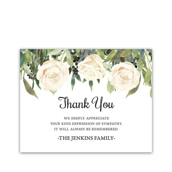 Floral Thank You Cards Funeral Condolences