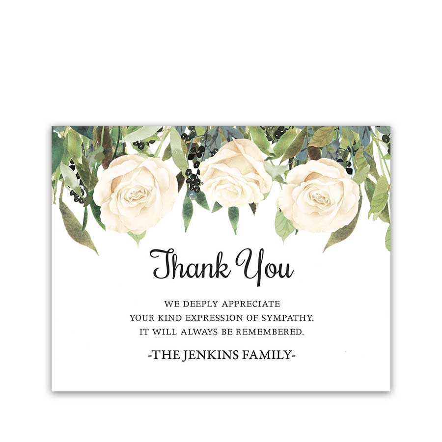 White Roses Funeral Thank You Card For Guests Custom Template Digital Regarding Sympathy Thank You Card Template