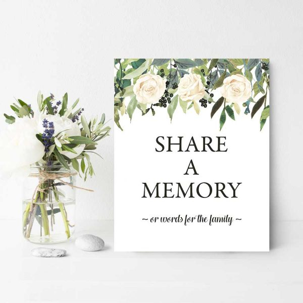 Greenery Share A Memory Table Sign Digital Printable File