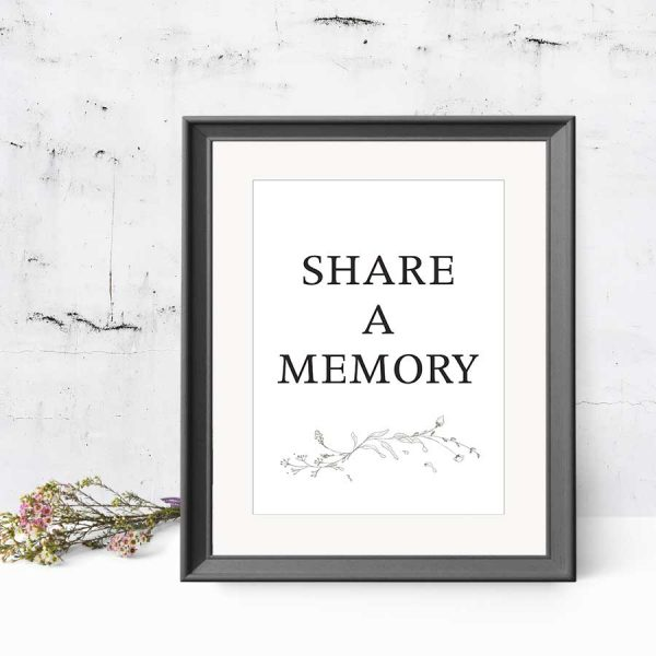 Share a Memory Sign Template for Celebration of Life Decor