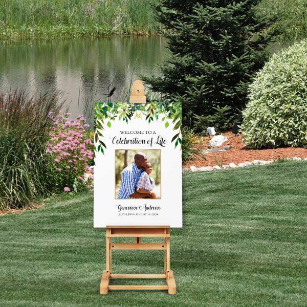 Photo Funeral Welcome Signage Greenery Life Celebration