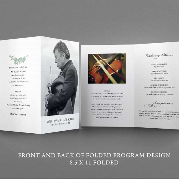 Funeral Brochure Memorial Service Program Outline Elegant