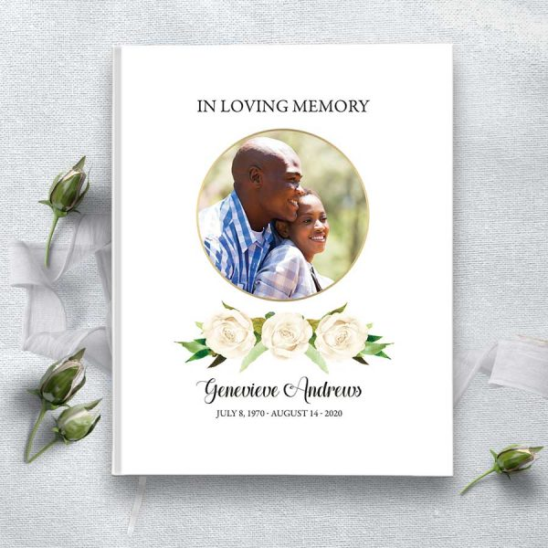 Memorial Guest Book Custom Photo with White Roses and Greenery