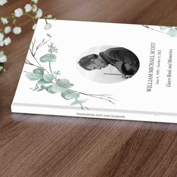 Funeral Guest Signature Book Customized with Photo Text
