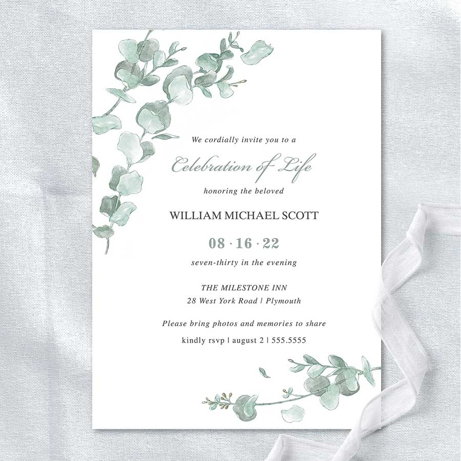 Memorial Service Invitation Templates Eucalyptus Greenery Elegant