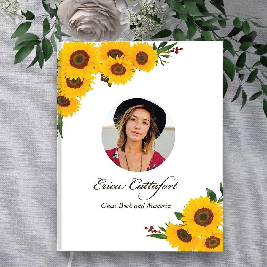 Guest Sign In Book Funeral Hardbound Photo Keepsake Sunflower Motif