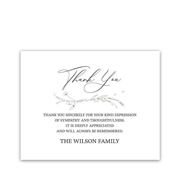 Funeral Thank You Customized Condolence Card