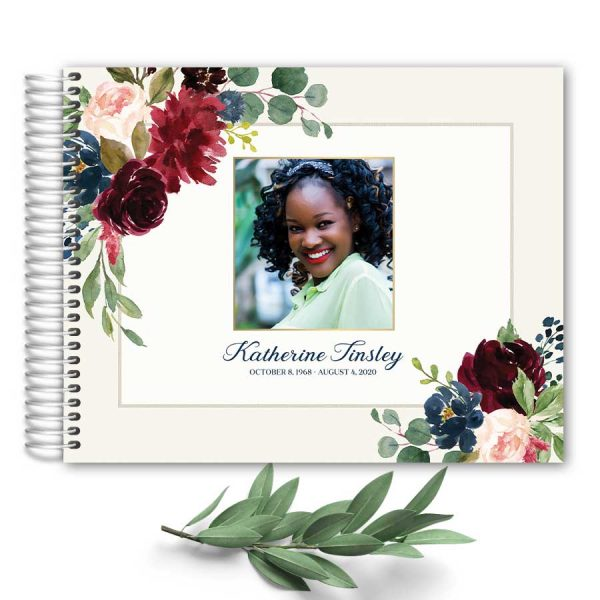 Guest Registry Book for Funeral Spiral Bound Custom Photo