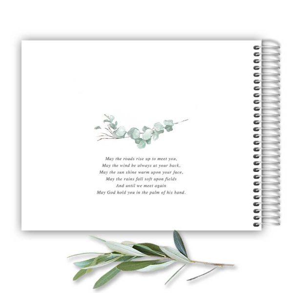 Funeral Guest Registry Book Customized with your Photo and Eucalyptus