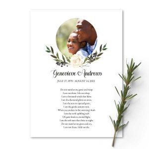 Memorial Tribute Photo Card with Elegant Greenery and Poem