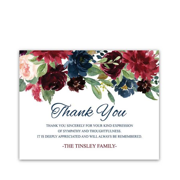 Sympathy Thank You Notecard Custom Printed for Condolences