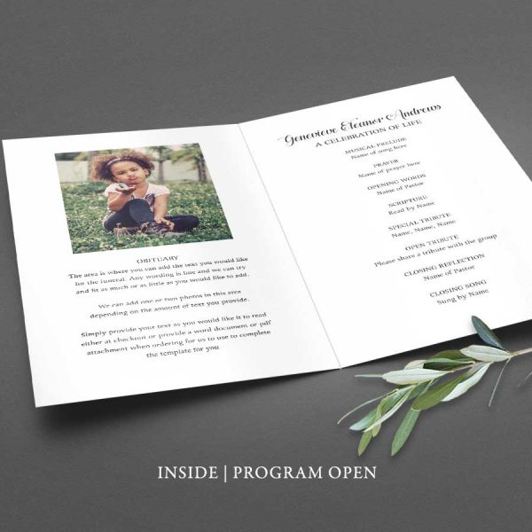 Program for Memorial Service Obituary Photo Keepsake