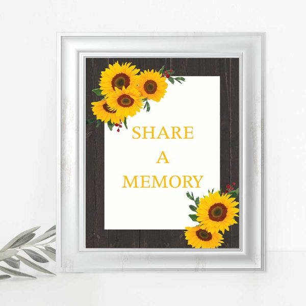 Celebration of Life Memory Sign Share a Memory Table Card