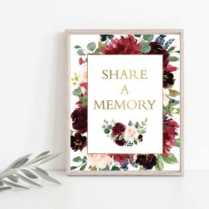 Share A Memory Table Sign Template Floral Watercolors