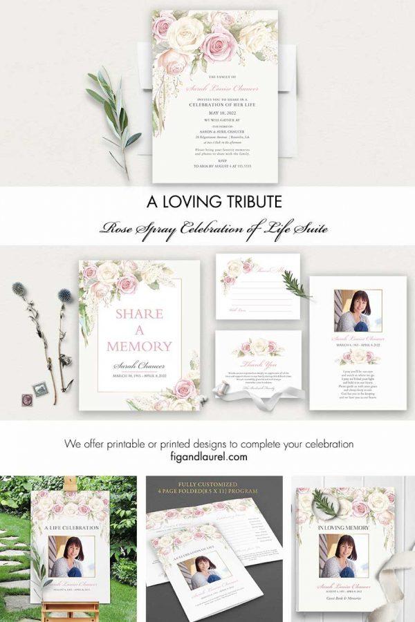 Blush Roses Memorial Service Invitation Life Celebration