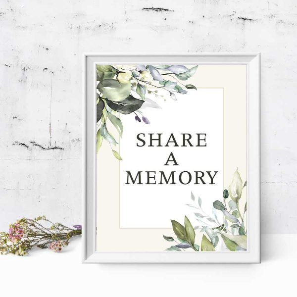 Share A Memory Sign Template For Celebration of Life