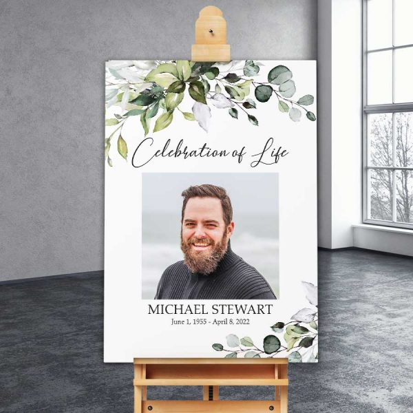 Greenery Funeral Welcome Signs Printed