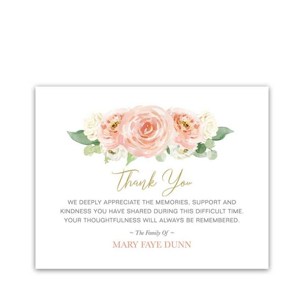 Funeral Thank You Flat Cards Peach Floral Customized