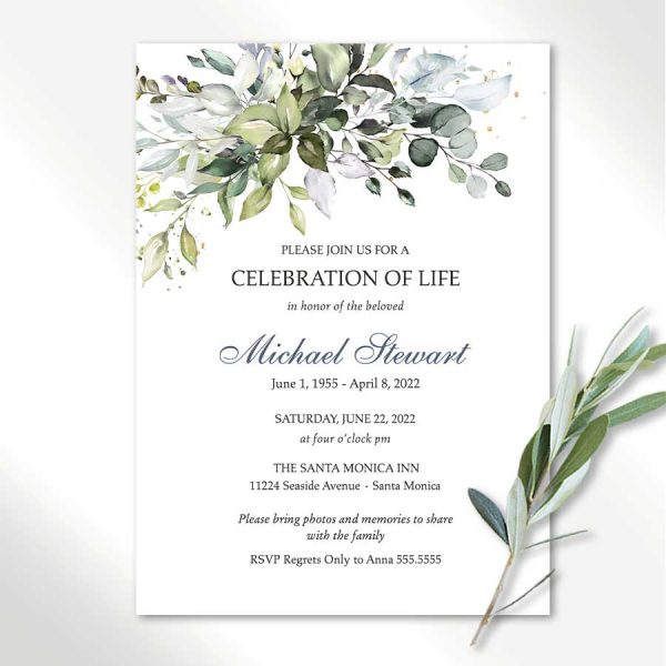 Funeral Invitation For Men or Women with Greenery