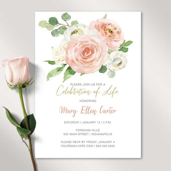 Celebration of Life Funeral Invitation with Peach and Cream Florals