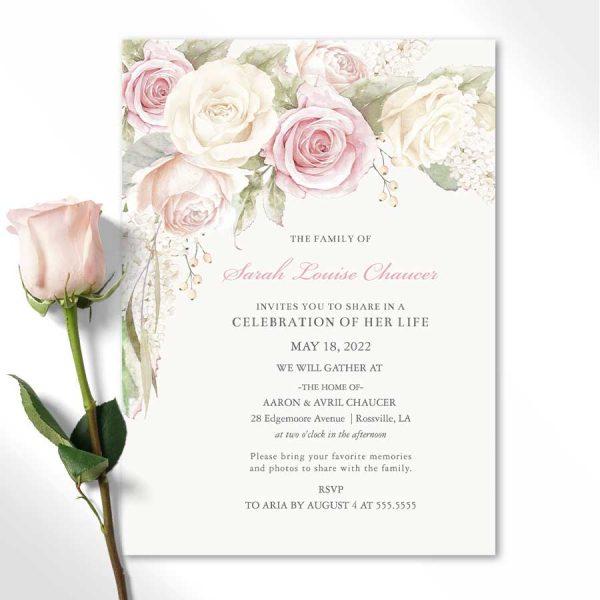 Blush Roses Memorial Service Invitation