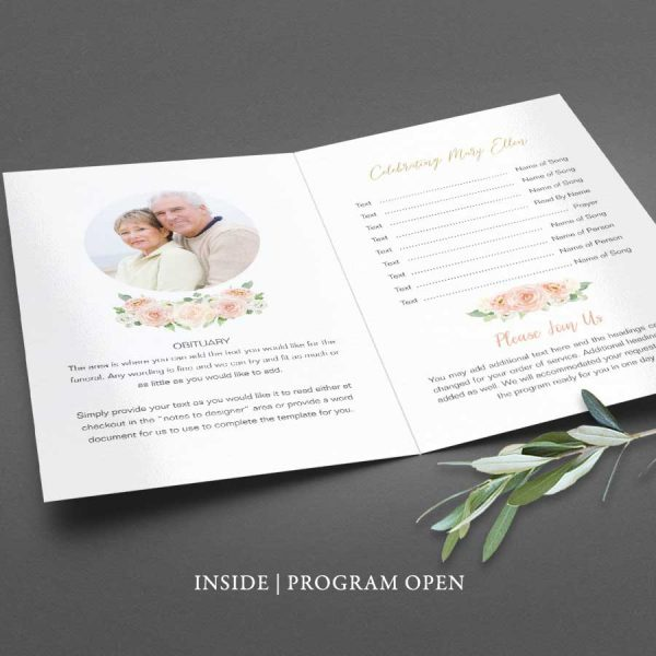 Funeral Order of Service Program Peach Floral Bifold