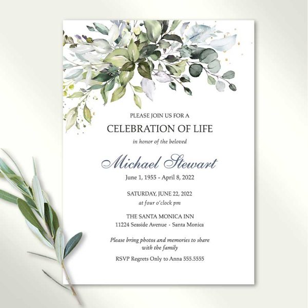 Funeral Invitation Template with Greenery