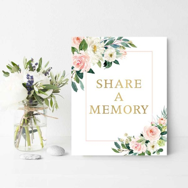 Memory Sign Funeral Decor Share A Favorite Thought 8x10