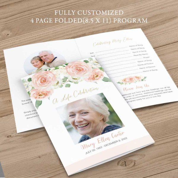 Printed Funeral Order of Service Program Peach Floral Bifold