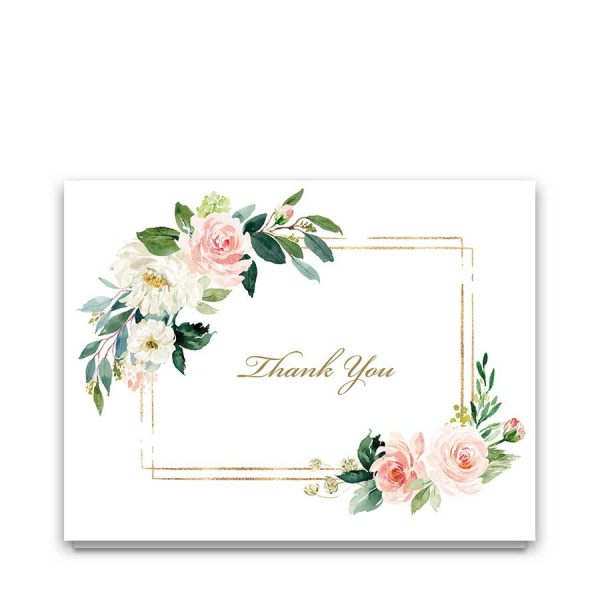 Funeral Thank You Cards Floral Blush Folded Customized