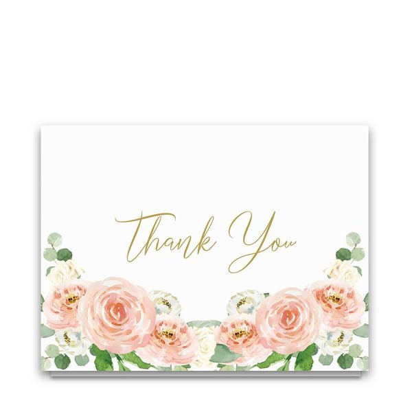 Folded Memorial Thank You Cards Customized with Watercolor Florals