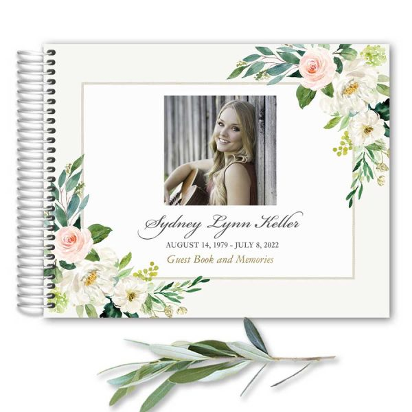 In Loving Memory Guest Book Spiral Bound Blush Florals