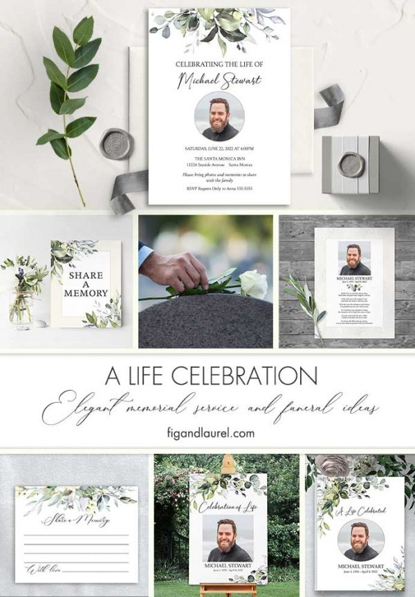 Funeral Invitation Template Masculine Greenery Pale Blue