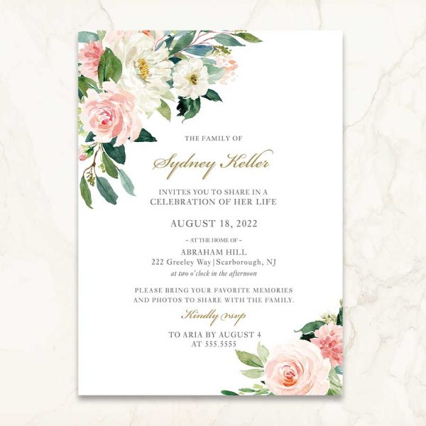 Funeral Invitation Printed Cards