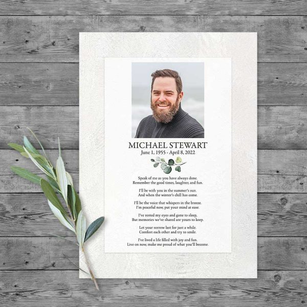 Funeral Tribute Card Template with Photo and Poem