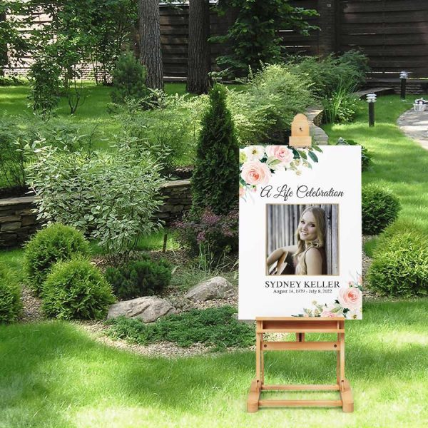 Welcome Sign Funeral Memorial with Blush Florals and Photo