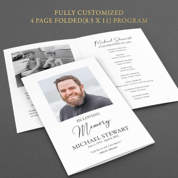 Funeral Program Templates Greenery Printable