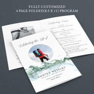 Customized Funeral Program Mountains Printed for You