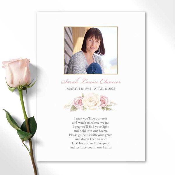 Funeral Tribute Guest Keepsake Photo Poem Cards