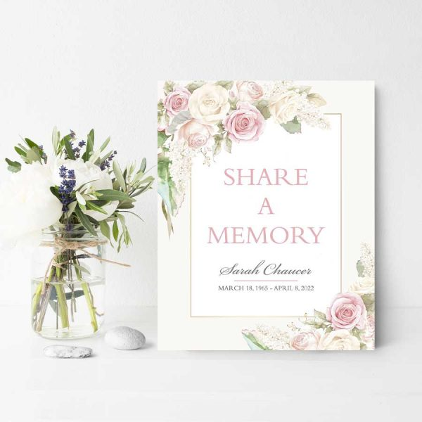Feminine Share a Memory Sign For Funeral Table Decor
